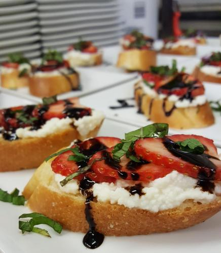 Crostini with a Sweetened Ricotta Cheese Spread, Strawberries, Mint and Balsamic Glaze