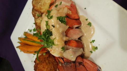 Lobster Tail and a Lobster and Crabmeat Cake