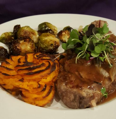 New York Strip with Sweet Potatoes and Roasted Brussell Sprouts