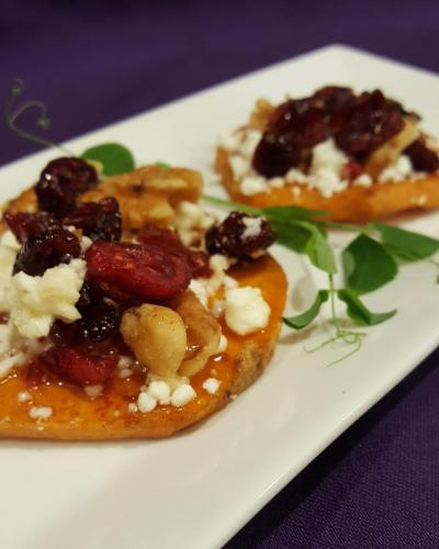 Sweet Potato Rounds with Goat Cheese, Walnuts and Dried Cranberries
